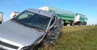 Accidente en el kilómetro 104 de la Ruta 188 deja heridos leves