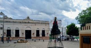 Se enciende el arbolito de Navidad en la Plaza San Martín