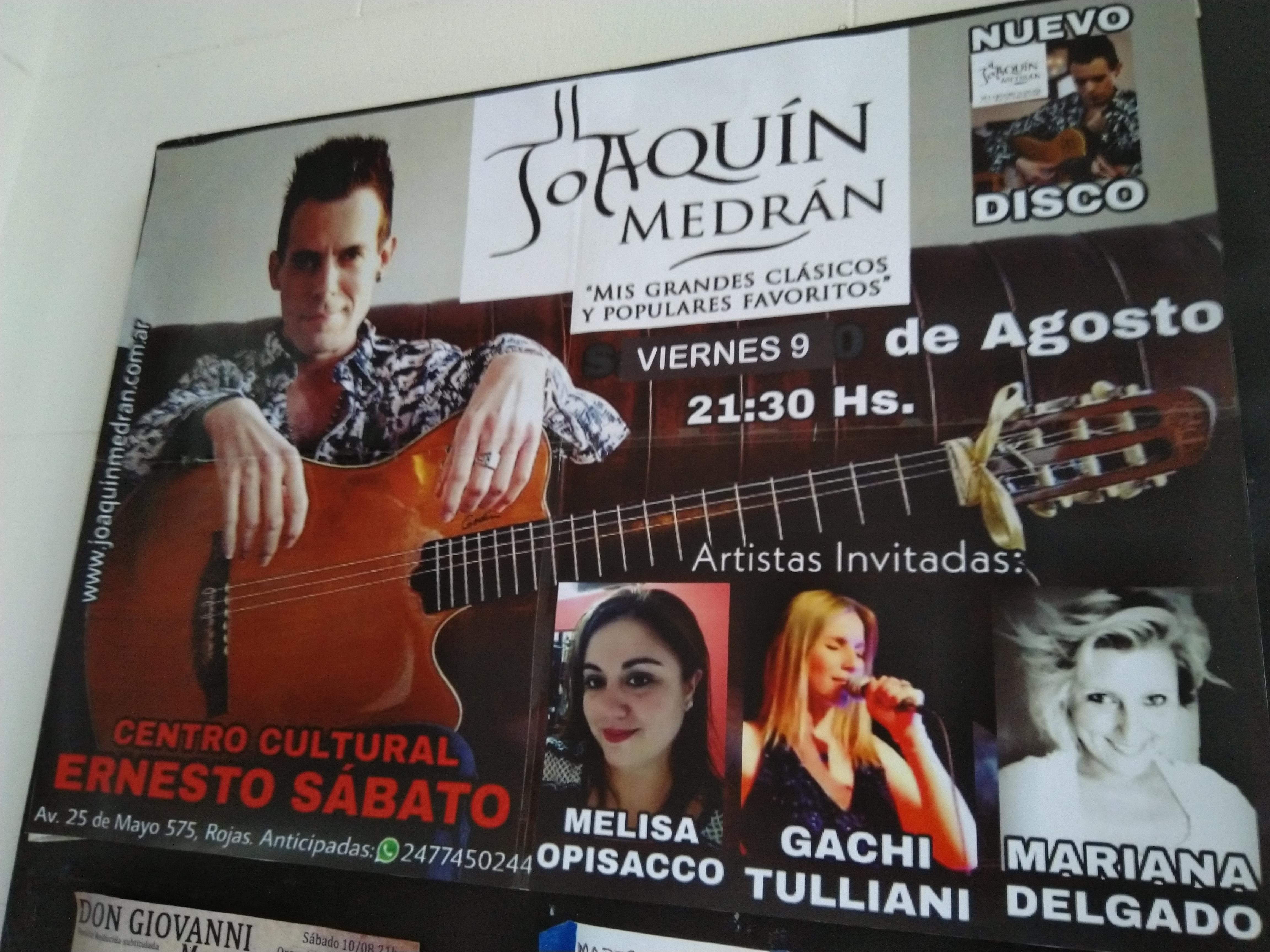Joaquín Medrán se presenta en el Centro Cultural Ernesto Sabato