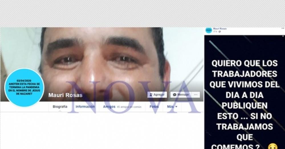 El muro del Facebook de Mauricio Rosas, detenido por criticar y pedir trabajo en Junín. (Foto: NOVA)