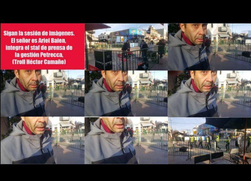Secuencia de imágenes que retratan la agresión de Baien al colega Javier Orellano, de Semanario de Junín.