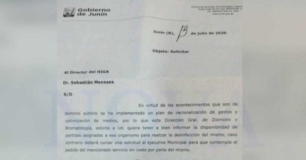 El escrito presentado por Julio Ferrero. (Foto: NOVA)