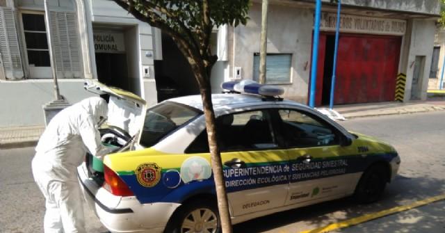 Jornada de capacitación y desinfección de móviles y dependencias policiales en Rojas