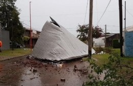 Consecuencias de la tormenta: Voladura de chapas, tapial derrumbado y caída de ramas