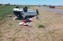 Volcó auto en Ruta 31 en cercanías del ingreso a Hunter