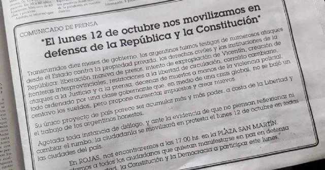 En Rojas invitan a sumarse a la protesta contra el Gobierno nacional