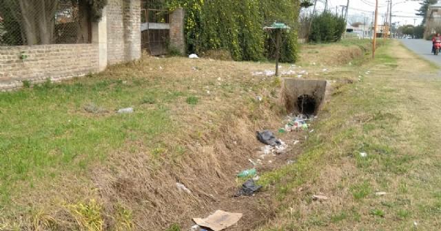 Gran cantidad de basura en los canales de la Avenida Fortín Mercedes