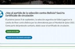 Se encuentra disponible el certificado para ingresar al partido Argentina-Bolivia
